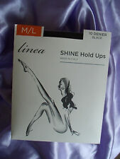 House of Fraser LINEA SHINE 10 Denier Lace Top Hold Up Stockings Lycra Black M/L