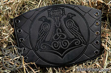 A Pair Leather Cuff LARP Bracers Armor Thor's Hammer Mjolnir Birds Scales design