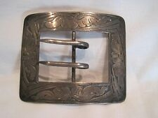Rare HUGE Vintage Victorian La Pierre Mfg. Etched Sterling Silver Belt Buckle