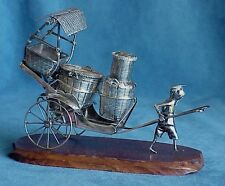 Antique Vintage TACKHING Hong Kong Chinese Export 90% Silver Rickshaw Cruet