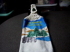 Cabin Go Jump In A Lake Woods Outdoors Hanging Crochet Top Kitchen Towel w