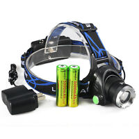 3Mode 5000LM Zoomable Rechargeable CREE XML T6 LED HeadLamp+ 2x 18650 + Charger