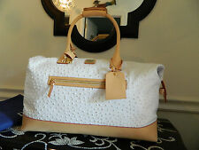 Dooney and Bourke Leather White Ostrich Large Duffel Bag (Luggage)