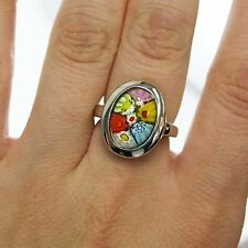 Ladies Sterling Silver Italy Murano Glass Oval Multi-Color Flower Ring Band Sz 7