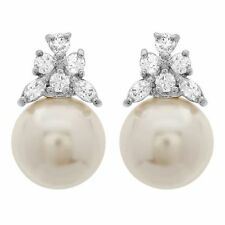 Stunning 12mm Round Shell Pearl with White Cubic Zirconia Stud Earring