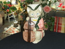 VINTAGE 1986 FITZ & FLOYD CAT PLAYING FIDDLE PITCHER-VICTORIAN DRESSED EXL-MINT