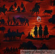 BonEful Fabric FQ Cotton Quilt VTG Red Black South West Scenic Cowboy Horse Bull