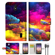 Colorful Cloud Wallet Case Cover For Huawei Ascend Y625-- A021