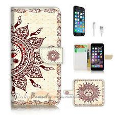 iPhone 6 6S Plus (5.5') Flip Wallet Case Cover P2457 Aztec Sun