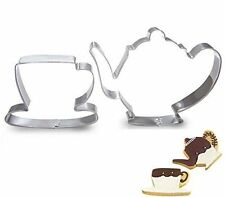Tea cup teapot baking cookie cutter pastry biscuit stainless steel set