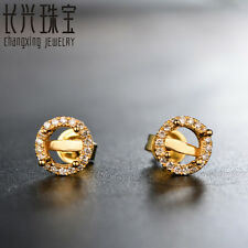 18Kt Yellow Gold 5mm Round 0.15ct Pave Diamond Semi Mount Earrings Setting