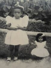 VINTAGE BLACK DOLL AFRICAN AMERICAN ANGEL GIRL MATCHING DRESSES BFFs FINE PHOTO