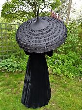 Whitby Gothic / Steampunk Pagoda Umbrella / Parasol - Black Ruffled, Victoriana