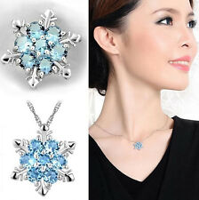 Fashion Blue Crystal Snowflake Frozen Flower Silver Plated Necklace Pendant Gift