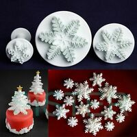 3Pcs Snowflake Fondant Plunger Cutters Sugarcraft Cake Decorating DIY Mold