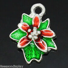10 PCs Charm Pendants Enamel Christmas Flower Silver Plated 18mmx14mm