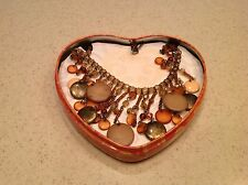 "Jewelry Brighton Handmade Beaded Silver Plate Necklace  10"" Long In Heart Tin!"