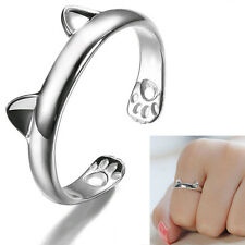 Fashion womens Lady Silver Cute Cat Kitten Ears Design Open Party Ring Size 7