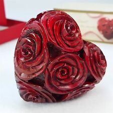 Pier 1 Soapstone Carved Heart Shape Red Roses Valentine Love Paperweight NEW