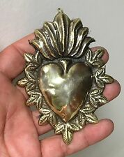 "ANTIQUE Sacred Heart Jesus Ex Voto MILAGRO MIRACLE BRASS  4"" TALL TA-30"