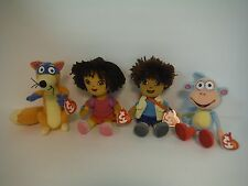 TY BEANIE BABIES~DORA THE EXPLORER PLUSH SET LOT~DIEGO~BOOTS~SWIPER~NEW~MWMT