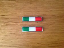 2x ITALY NATIONAL FLAG METAL BADGE EMBLEMS - FIAT - ALFA - FERRARI - LANCIA