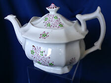 Antique Staffordshire soft paste pink luster sprig teapot, early 1800s