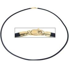 Black Rubber Cord Necklace Jewelry 14K Gold Clasp 18""