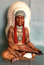 VINTAGE BYRON MOLDS INDIAN CHIEF NATIVE AMERICAN PEACE PIPE CERAMIC STATUE~12.5""