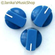 3 blue potentiometer switch knobs guitar  amplifier etc stove pot knob + screw