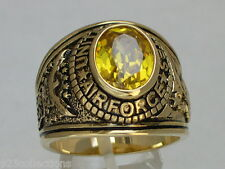 United States Air Force Military November Yellow CZ Birthstone Men Ring Size 10