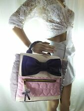 Betsy Johnson Backpack Purse Shoulder Bag New Pink Grey Bow   Goodtreasures123