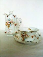 Antique Rosenthal Porcelain Tea/Coffee Pot-Cup & Saucer-Severs-Mark 1898-1906