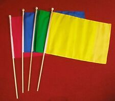 "SET OF 4 PLAIN COLOURED 18""x12"" HAND WAVING FLAGS BLUE RED GREEN YELLOW FLAG"