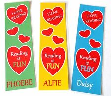3 CHILDRENS PERSONALISED BOOKMARKS.I LOVE READING.YOUR CHILDS NAME.18cm x 5cm.