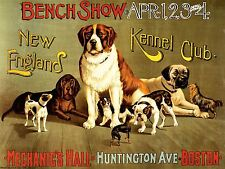 ADVERTISING EXHIBITION DOG SHOW NEW ENGLAND KENNEL CLUB BOSTON POSTER LV787