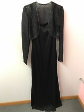 Leslie Fay Dress 10 Black Maxi Dress Fitted Mother Of Bride With Jacket Euc