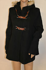 manteau court type paleton duffle coat noir