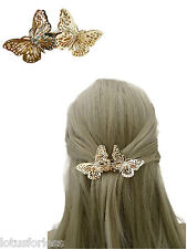 Pretty Butterfly Barrette Hair Clip Spring Clip Grip in Gold Tone