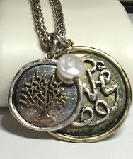 Silver Gold Plated Tree of Life Necklace Celtic Vintage Pearl Long 28 inches USA