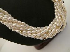 """White Freshwater Baroque Rice Pearl 10 Strand Torsade Necklace,14K Clasp, 31.5"""""""