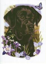 BLACK LABRADOR DOG HEAD with Flowers. ONE 18 x 22 inch Fabric Panel to Sew.SALE
