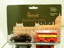 1995 Harrods LE Juniors 2-Pk. London Taxi #K510 & Double Decker Bus #P334 MIP