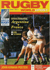 RUGBY WORLD MAGAZINE AUGUST 1986 - PERFECT GIFT FOR A FAN BORN IN THIS MONTH