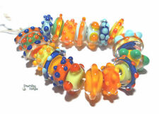 COLOR SPINNERS Handmade Lampwork Beads Red Blue Yellow Green Disc Round 20 Beads