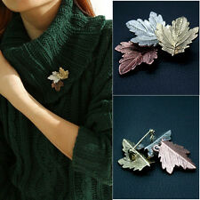 Women Fashion Jewelry Vintage Brooch Gold/Silver Plated Maple Leaf Brooches Pins