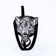 Men's Wolf Embroidered C-string Invisible Panty Knicker Underwear Black