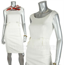 $1,450 GUCCI DRESS SLEEVELESS WHITE COTTON BLEND BOW DETAIL AT WAIST sz 42 US 6
