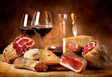 Italian Selection of Meats Cheese Wine Salami Pruccuito Ham  Food Kitchen  Print
