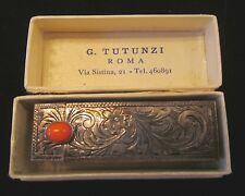 Vintage Antique Solid 800 Silver Engraved Lipstick Compact-Italy-Original Box